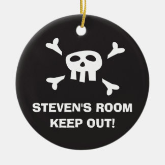 Keep out pirate flag door hanger ornament