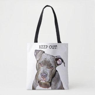 KEEP OUT PITBULL DOG FUNNY TOTE BAG