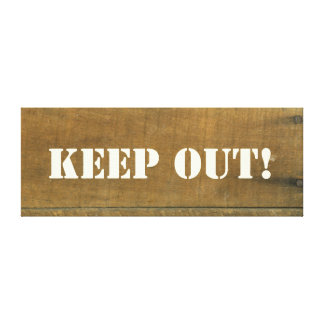 KEEP OUT Vintage Inspired Old Wooden Sign Gallery Wrapped Canvas