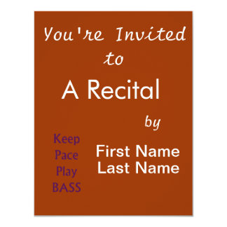"Keep pace Play bass purple text 4.25"" X 5.5"" Invitation Card"