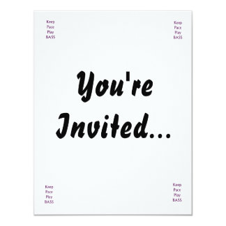 Keep pace Play bass purple text 4.25x5.5 Paper Invitation Card