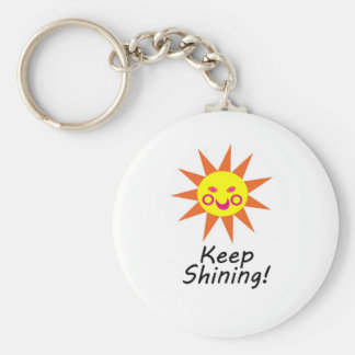 Keep Shining Happy Faced Smiling Sun Basic Round Button Key Ring