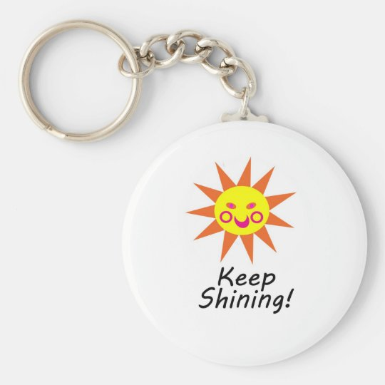 Keep Shining Happy Faced Smiling Sun Key Ring