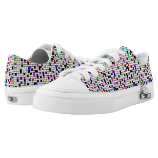 """Keep Shining. Keep smiling"" color & white squares Printed Shoes"