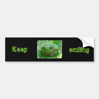 Keep smiling - green smiling frog bumper sticker