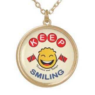 Keep Smiling Trinidad & Tobago Smiley Round Pendant Necklace