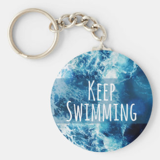 Keep Swimming Ocean Motivational Basic Round Button Key Ring