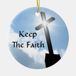 Keep The Faith Cross On Blue Skies Ornament