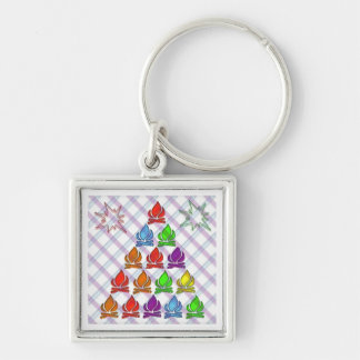 Keep the Flame Going ... Silver-Colored Square Key Ring