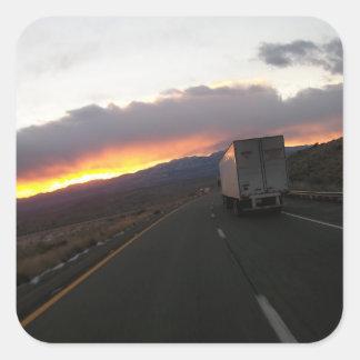 Keep Truckin Square Sticker