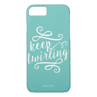 Keep Twirling | Mint & White Typography Quote iPhone 8/7 Case