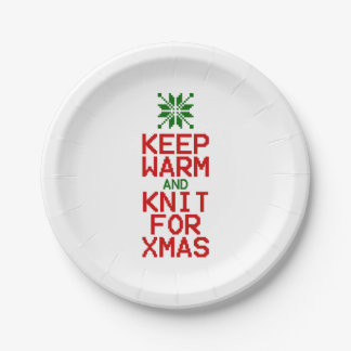 Keep Warm and Knit for Xmas Paper Plate