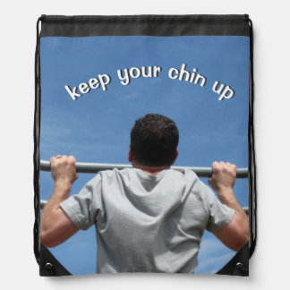 Keep Your Chin Up Drawstring Bags