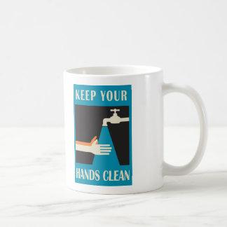 keep your hands clean basic white mug