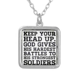 Keep your Head up Square Pendant Necklace
