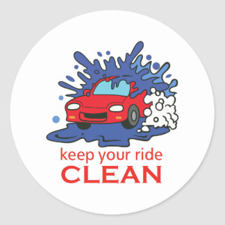KEEP YOUR RIDE CLEAN CLASSIC ROUND STICKER
