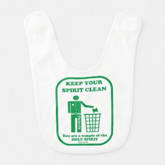 Keep your spirit clean baby bib