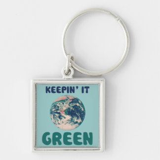 Keeping it green Silver-Colored square key ring
