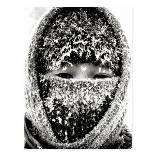 Keeping warm in winter postcard