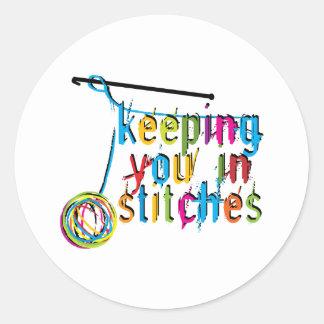 keeping you in stitches-crochet round sticker