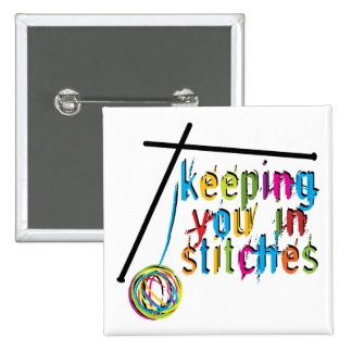 keeping you in stitches-knit 15 cm square badge