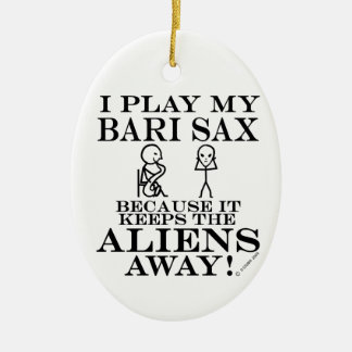 Keeps Aliens Away Bari Sax Christmas Ornament