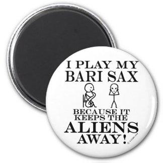 Keeps Aliens Away Bari Sax Fridge Magnets