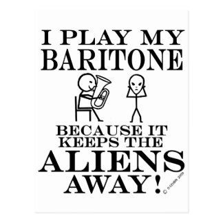 Keeps Aliens Away Baritone Postcard