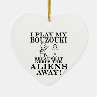 Keeps Aliens Away Bouzouki Christmas Ornament
