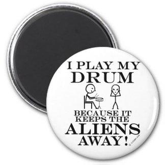 Keeps Aliens Away Drum Refrigerator Magnet