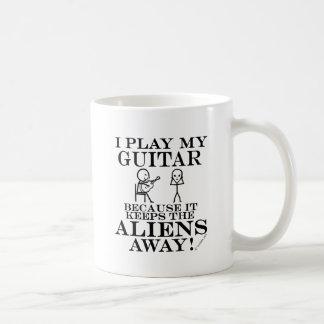 Keeps Aliens Away Guitar Coffee Mug