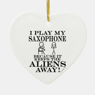 Keeps Aliens Away Saxophone Christmas Ornament