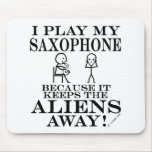 Keeps Aliens Away Saxophone Mousepads