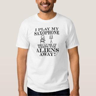 Keeps Aliens Away Saxophone Shirt