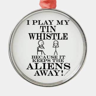 Keeps Aliens Away Tin Whistle Christmas Ornaments
