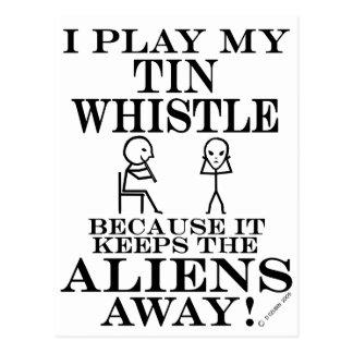 Keeps Aliens Away Tin Whistle Postcard