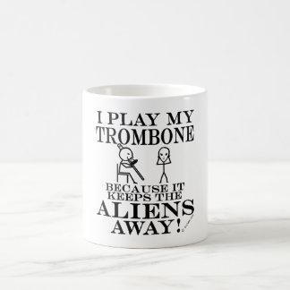 Keeps Aliens Away Trombone Basic White Mug