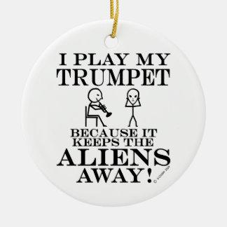Keeps Aliens Away Trumpet Christmas Ornament