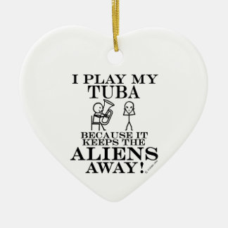 Keeps Aliens Away Tuba Christmas Ornament