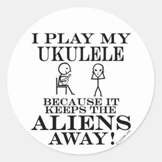 Keeps Aliens Away Ukulele Classic Round Sticker