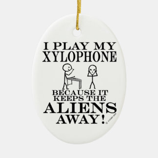 Keeps Aliens Away Xylophone Ceramic Oval Decoration