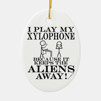Keeps Aliens Away Xylophone Christmas Ornament