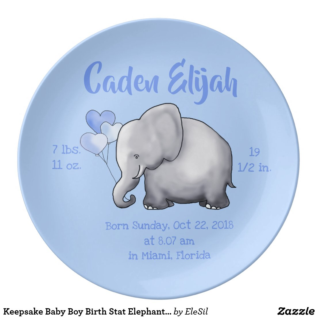 Keepsake Baby Boy Birth Stat Elephant Nursery Plate