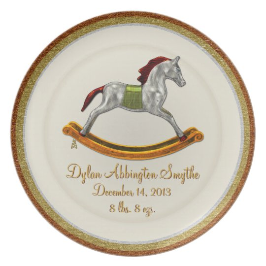 Keepsake Baby Plate - Rocking Horse (Personalised)