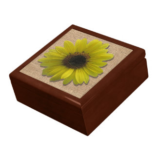 Keepsake Box - Burlap and Rain-Drenched Sunflower