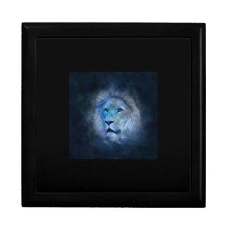 Keepsake box with Lion in blue