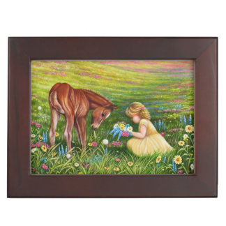 Keepsake box with picture of girl and horse
