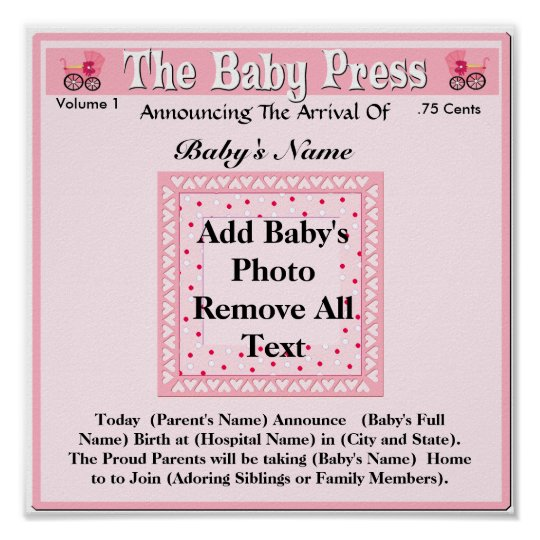 Keepsake Photo Birth Announcement Poster