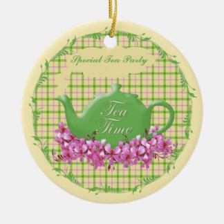 Keepsake Tea Time Teapot Round Ceramic Decoration