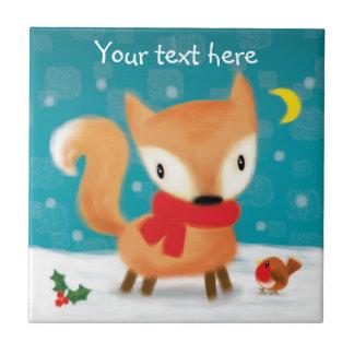 ♥ KEEPSAKE TILE ♥ Cute Christmas Fox + Robin snow